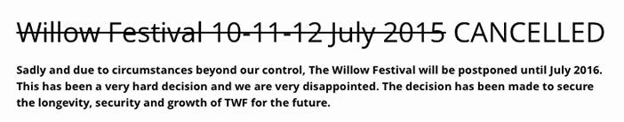 informacja o odwolaniu Willow Festival 2015