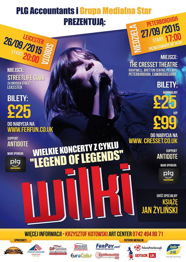 oficialny plakat koncertu Wilki Peterborough The Cresset