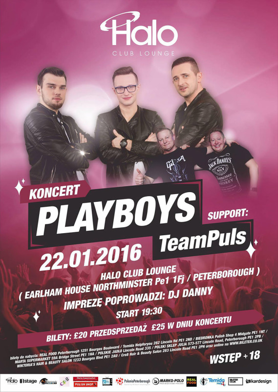 plakat konsert Playboys w Peterborough