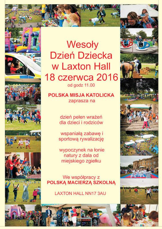 oficialny plakat dnia dziecka w laxton hall 2016