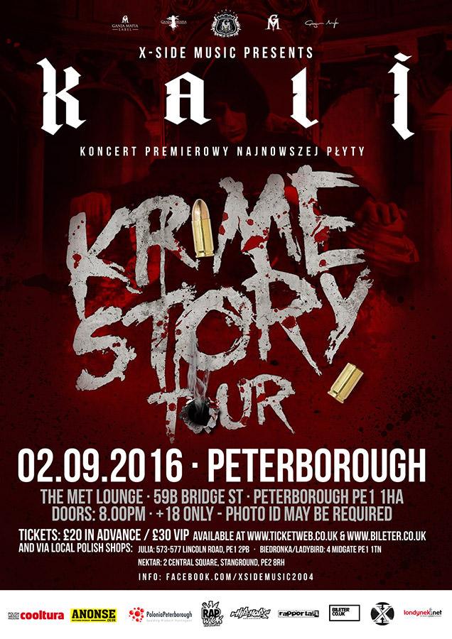 oficialny plakat koncertu Kaliego w Peterborough