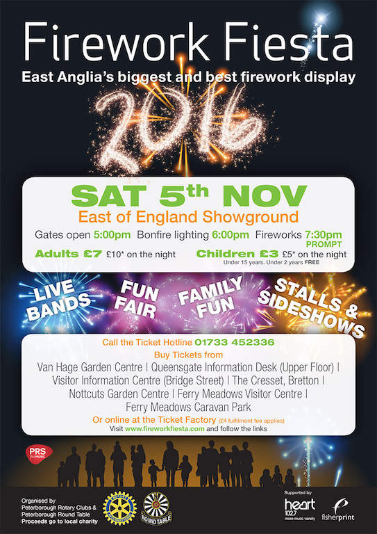 oficialny plakat Peterborough Firework Fiesta 2016