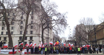 Protest Polaków w Londynie 24 luty 2014