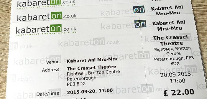 bilety na wystep Ani Mru Mru w Peterborough 2015