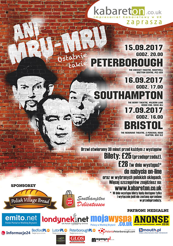 plakat wystepu ani mru mru w peterborough 2017